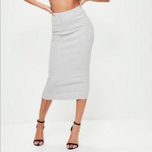 Ribbed grey midi skirt B29
